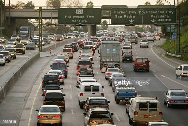 A bus strike adds to commuter traffic on the 101 freeway on October 14 2003 in Los Angeles California Some 2000 Amalgamated Transit Union members...