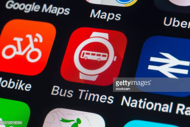 Bus Times, National Rail, Mobike and other travel Apps on iPhone screen