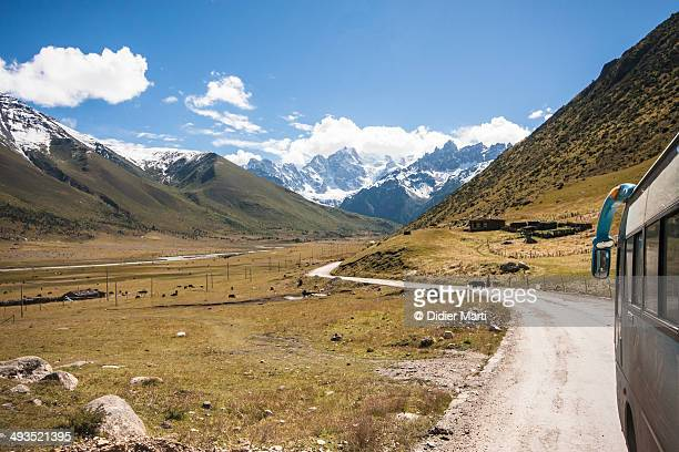 a bus to tibet - didier marti stock photos and pictures