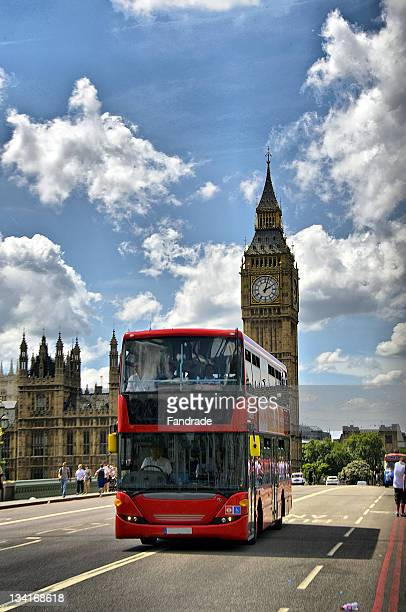 bus traveling on london road - double decker bus stock pictures, royalty-free photos & images