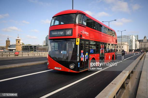 Bus travels across limited access lane on London Bridge on September 17, 2020 in London, England. A number of London's bridges have recently either...