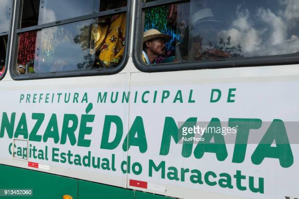 A bus used to transport members of Maracatu is seen in a rural area of the city of Nazaré da Mata in Northeast Brazil on January 14 2018