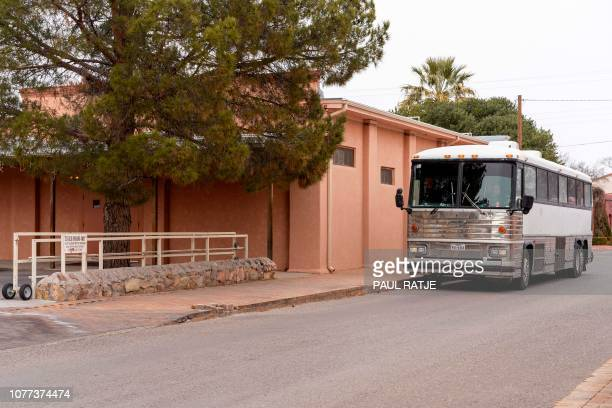 A bus which delivers Central American migrants from Immigration and Customs Enforcement custody to shelters around El Paso Texas and Las Cruces New...