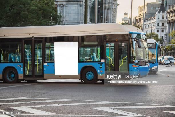 bus with blank billboard - bus stock-fotos und bilder