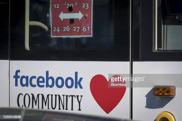 A bus with Facebook Inc signage exits the company's headquarters in Menlo Park California US on Tuesday Oct 30 2018 Facebook Inc which had warned of...