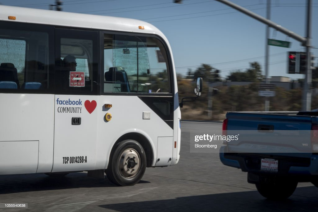 A bus with Facebook Inc  signage exits the company's