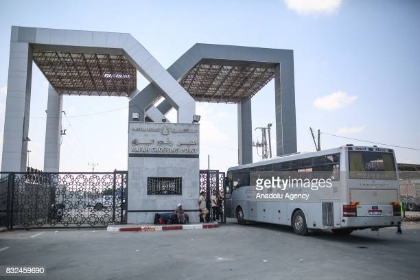 A bus with passengers crosses the Rafah Border to Egypt after passport controls in Rafah Gaza on August 16 2017 Egypt decided to open Rafah Border...