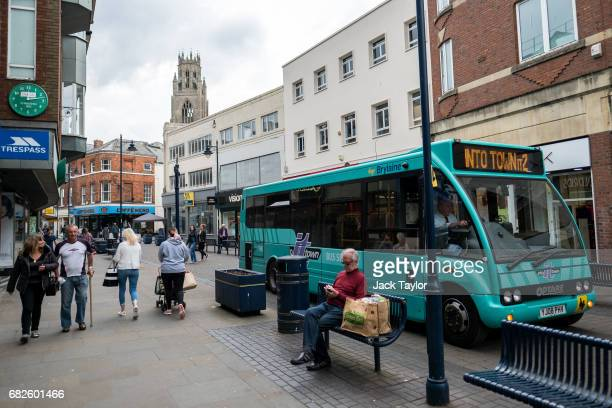 A bus with passengers drives through the town centre on May 12 2017 in Boston United Kingdom The town of Boston in Lincolnshire voted with a 75%...
