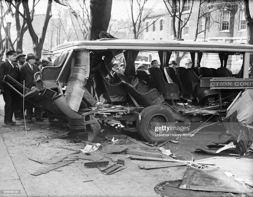 Bus Wreckage after Crash, Washington DC, USA, Harris & Ewing, 1932