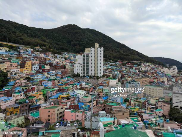 busan artist village and city in the hills - busan stock pictures, royalty-free photos & images