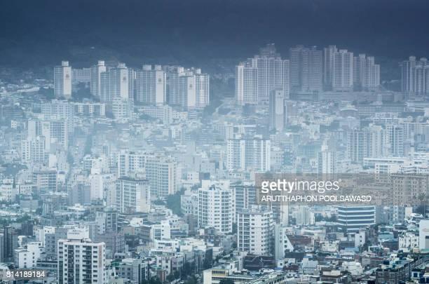 Busan city building aerial view , south korea