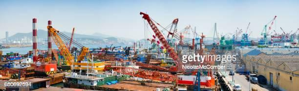 Busan Yeongdo-gu industrial port harbour skyline panorama