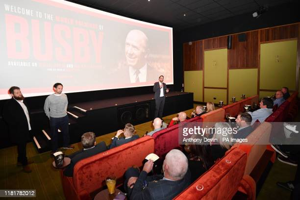 Busby Executive Producer Gabe Turner introduces the film during the World Premiere of new feature documentary, BUSBY, at Everyman Manchester St...