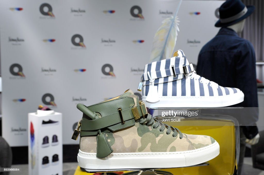 Buscemi footwear on display at Buscemi x Quincy Exclusive Launch at Neiman Marcus Beverly Hills on December 16, 2017 in Beverly Hills, California.