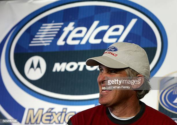 Busch Series driver David Green has a laugh at press confernece during practice for the NASCAR Busch Series Telcel-Motorola 200 on March 3. 2006 at...