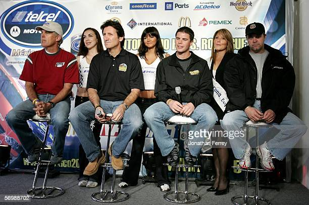 Busch Series drivers David Green Ron Fellows rookie Burney Lamar and Jason Keller address the media at press confernece during practice for the...