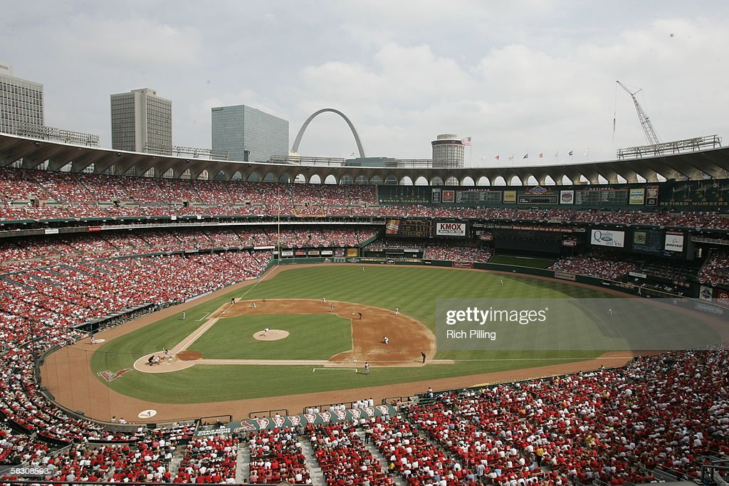 Busch Stadium and Cardinal fans during the final regular season game on October 2, 2005 in St. Louis, Missouri. Following the season, Busch Stadium will be torn down to make room for a new stadium. The Cards defeated the Reds 7-5.