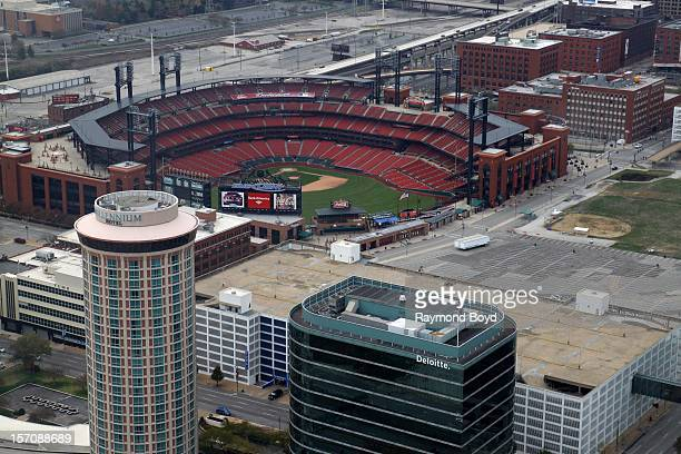 Busch Stadium, home of the St. Louis Cardinals, as photographed from the observatory deck of the Gateway Arch in St. Louis, Missouri on NOVEMBER 04,...