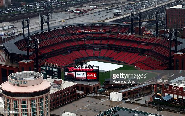 Busch Stadium home of the St Louis Cardinals baseball team photographed from the St Louis Gateway Arch on a fall rainy day in St Louis Missouri on...