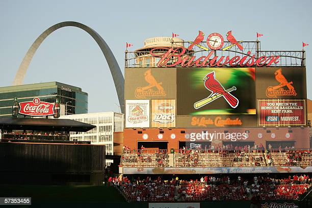 Busch Stadium is shown with the arch in the background during the St. Louis Cardinals game against the Milwaukee Brewers at Busch Stadium on April...