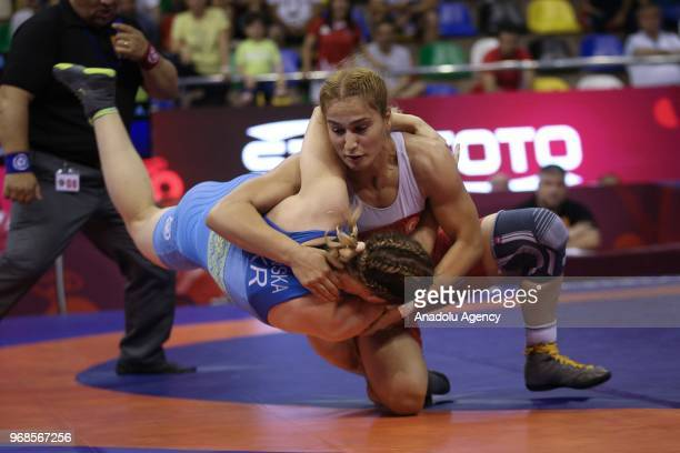 Buse Tosun of Turkey in action against Alla Belinska of Ukraine during third day of women's semifinal match at the U23 Senior European Championships...