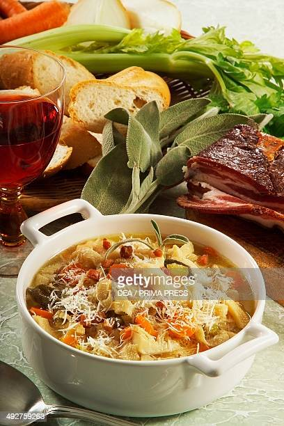 Buseca milanese tripe minestra with vegetables Milan Lombardy Italy