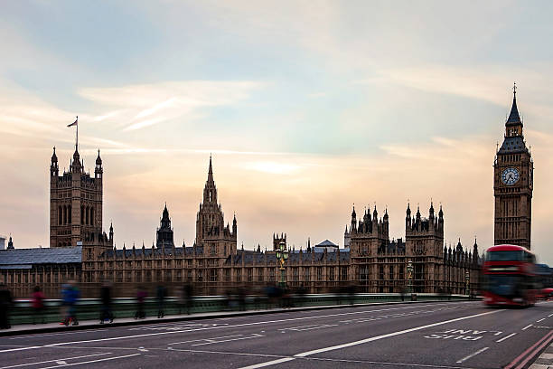 Buses And Tourists Cross The Westminster Bridge Wall Art