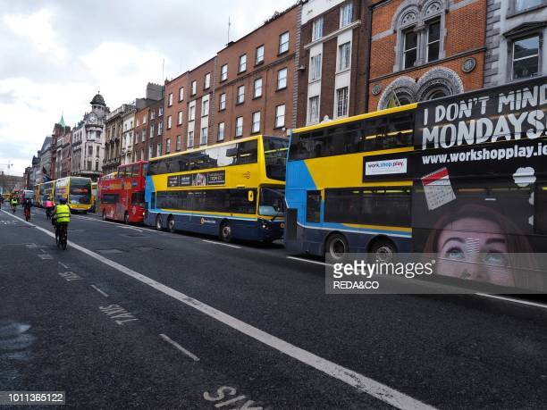 Buses and urban transport in Dame Street Dublin Republic of Ireland Europe