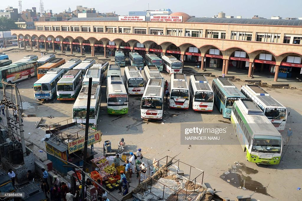 Buses are parked during a daylong strike by bus operators in Punjab at a bus stand in Amritsar on May 16 2015 Private bus operators were protesting...