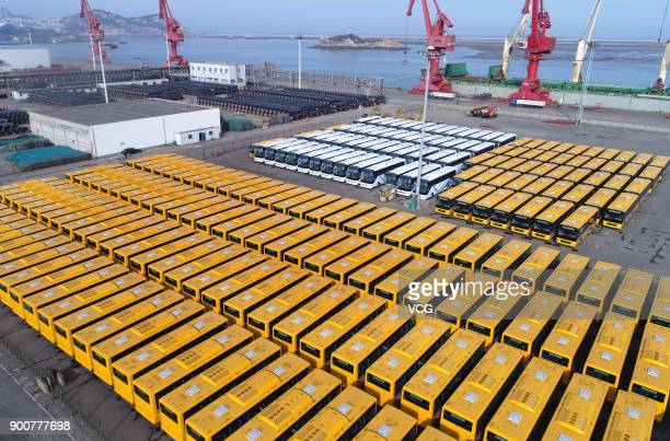 509 buses at Lianyungang Port ready to be exported to Africa on January 2 2018 in Lianyungang Jiangsu Province of China