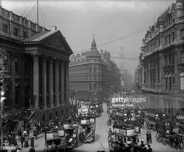 Buses clogging the road ouside Mansion House and Cheapside in the City of London
