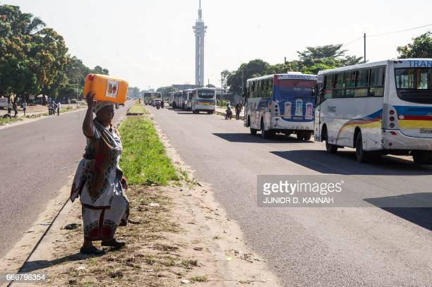 Buses drive as streets remain quiet despite a call by the main opposition, the Union for Democracy and Social Progress to hold anti government...