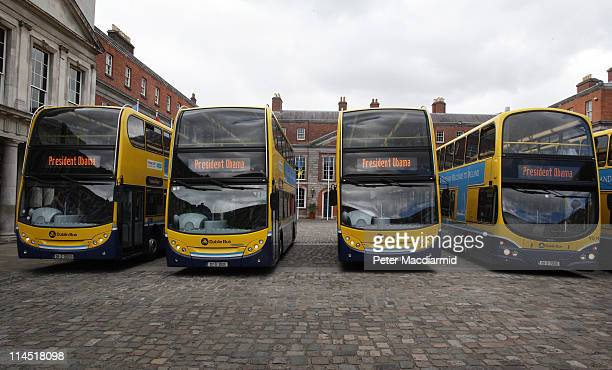 Buses hired to carry reporters show their destination as 'President Obama' on May 23 2011 in Dublin Ireland US President Obama is visiting Ireland...