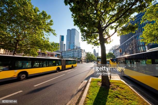 buses in kurfürstendamm - kurfürstendamm stock pictures, royalty-free photos & images