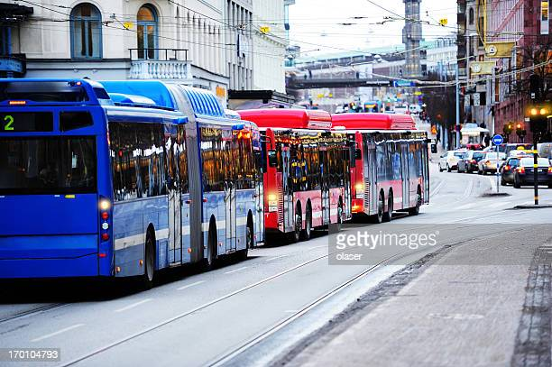 Buses in the city traffic