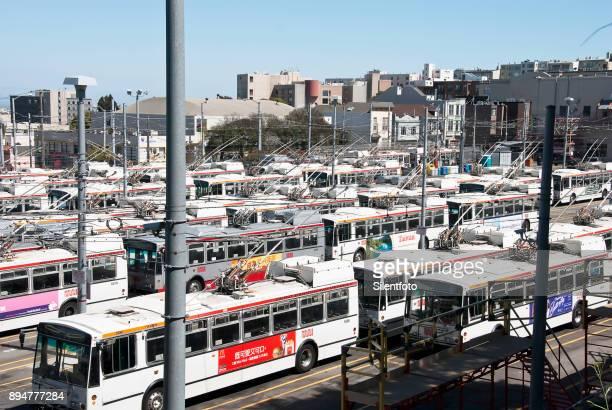 MUNI Buses Parked at Depot, San Francisco