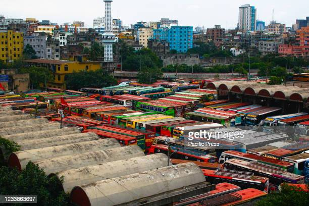 Buses parked at Saidabad Bus Stand. Due to the strict lockdown, no buses are able to run on inter-district routes.