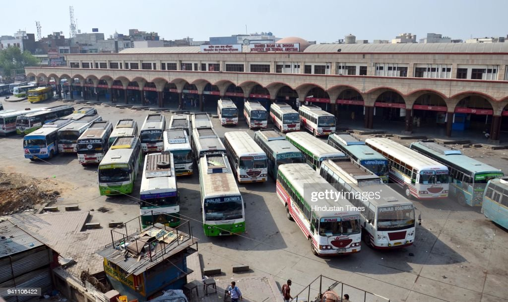 Buses parkerd at local bus stand during Bharat Bandh call against the the dilution of provisions of the Scheduled Castes/Scheduled Tribes Act at...