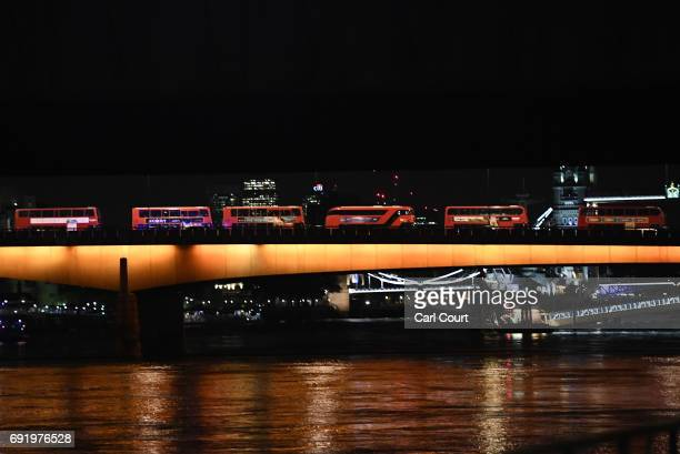 Buses queued up at London Bridge on June 3 2017 in London England Police have responded to reports of a van hitting pedestrians on London Bridge in...
