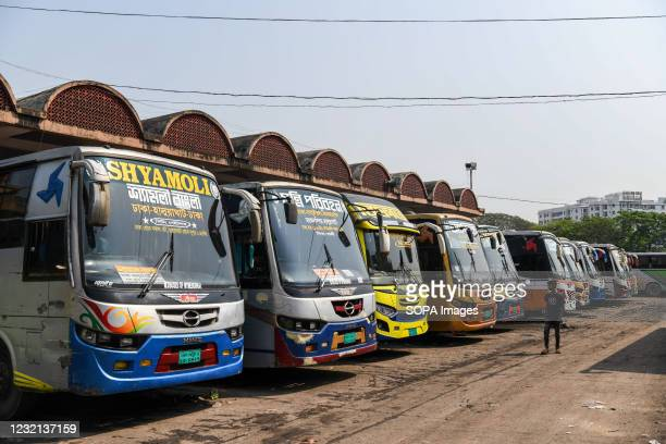 Buses seen parked in the Mohakhali Bus terminal at Keraniganj during the government-imposed lockdown as a preventive measure against the COVID-19...