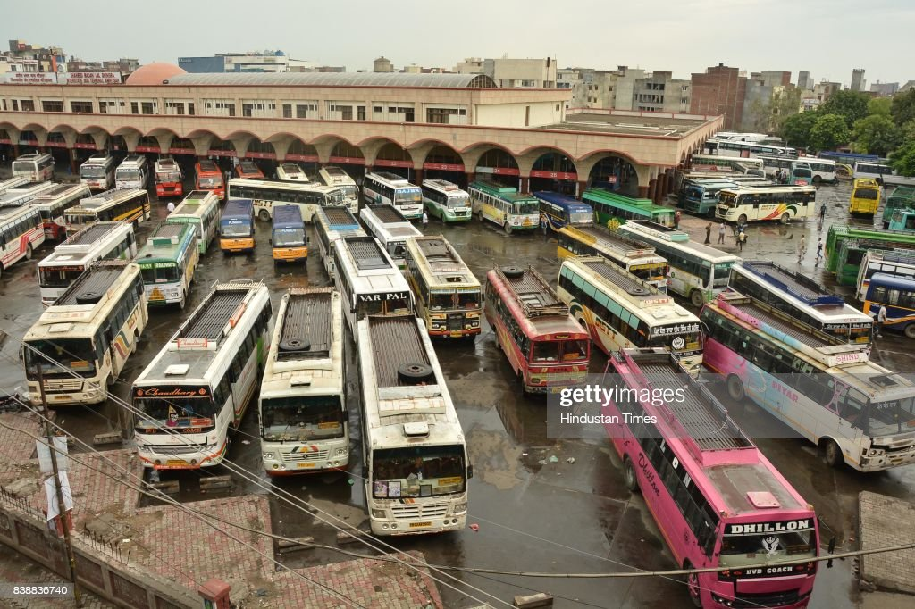 Buses stand parked at a bus stand in Amritsar on Friday after a majority of buses were cancelled due to Dera Sacha Sauda chief Gurmeet Ram Rahim's