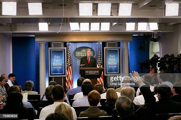 Bush Administration Press Secretary Tony Snow holds the daily press briefing inside the newly remodeled Brady Press Briefing Room in the West Wing of...