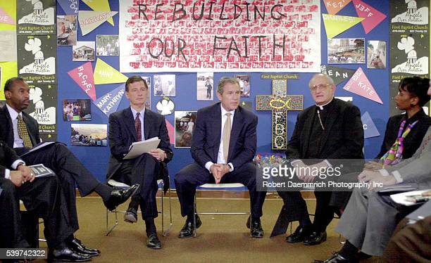 Bush attends a faithbased meeting at First Baptist Church in Austin with Pastor Floyd Flake Fmr Mayor of Indianapolis Stephen Goldsmith Most Rev...