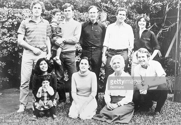 Bush Family Photo Top Left to right Marvin 22 George 3 Jeb 26 George George W 33 George's wife Laura Bottom left to right Jeb's wife Columba Noelle 2...