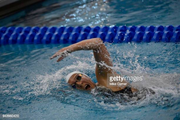 Bush Topic of Cal Baptist competes in the women's 1650 yard freestyle during the Division II Men's and Women's Swimming Diving Championship held at...
