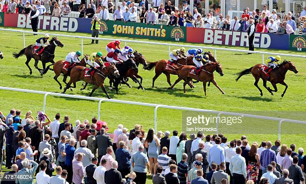 Bushcraft riden by Graham Lee on the way to winning The third race The Betfred 'Six Best Odds Daily' handicap stakes during The Northumberland Plate...