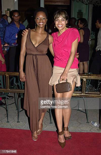 N'Bushe Wright and Rosario Dawson during 2003 NBA Draft Party in New York City at American Park Cafe in New York City New York United States