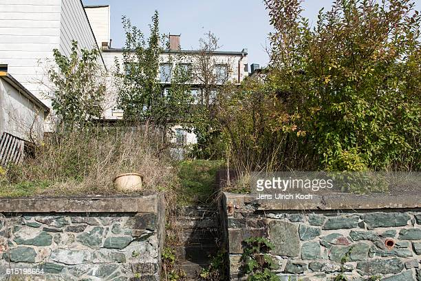 Bushes grow at the back entrance of the house where used to live murder victim Peggy Knobloch on October 17 2016 in Lichtenberg Germany The nine year...