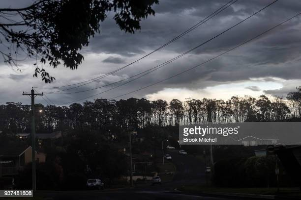 Bushfire devestated Tathra is pictured on March 25 2018 in Tathra Australia A bushfire which started on 18 March destroyed 65 houses 35 caravans and...