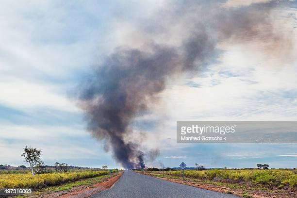bushfire near onslow pilbara - vanishing point stock pictures, royalty-free photos & images